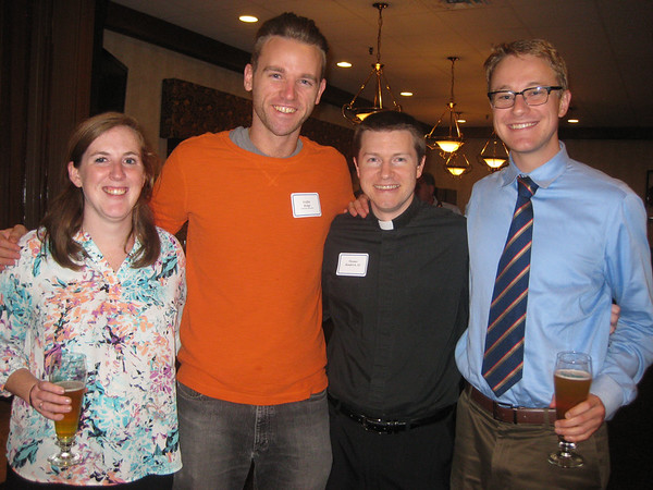 Brenna Cass, Griffin Knipp, Thomas Bambrick, SJ and Daniel Hunt