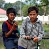 Boys outside deserted villas in Kep, Cambodia, 2010.