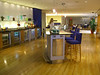 one of the 2 bars in the business class lounge
