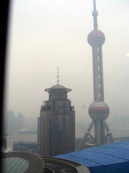 the Pearl Tower as seen from the 21st floor of my hotel (Shangri-La)on the east side of the river, across from old Shanghai.