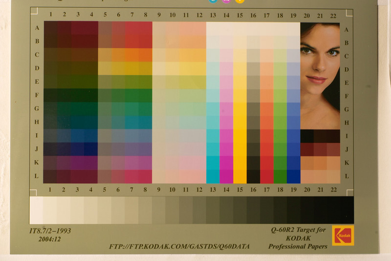 Colour chart, normal RAW conversion with Gamma of 2.2, plus white balance, colour conversion, sharpening etc, via SPP 2.5