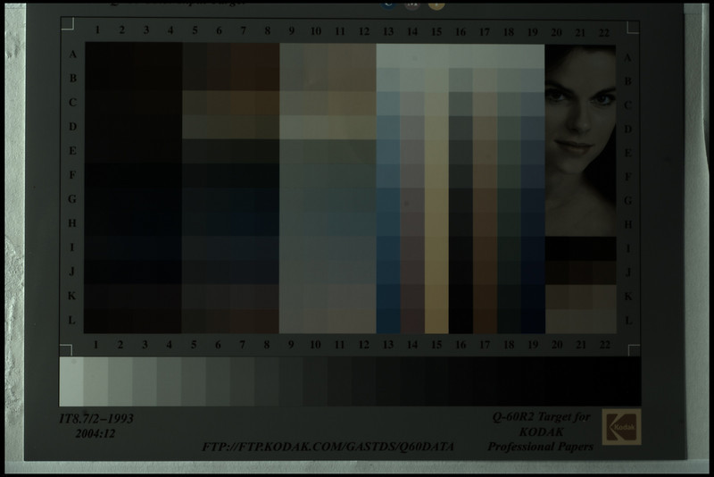 Colour chart, full RAW data with Gamma of 1.0 - no sharpening, colour conversion, white balance,