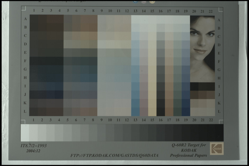 Colour chart, full RAW data with Gamma of 2.2 - no sharpening, colour conversion, white balance,