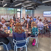 Before the CBJ E-Commerce panel discussion begins, attendees enjoy lunch together and network on the Sealed Air campus.