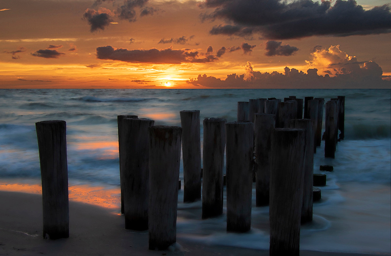 Digital Competition<br /> White Ribbon<br /> Advanced Color Class<br /> Sunset at the Pilings<br /> Nancy Springer