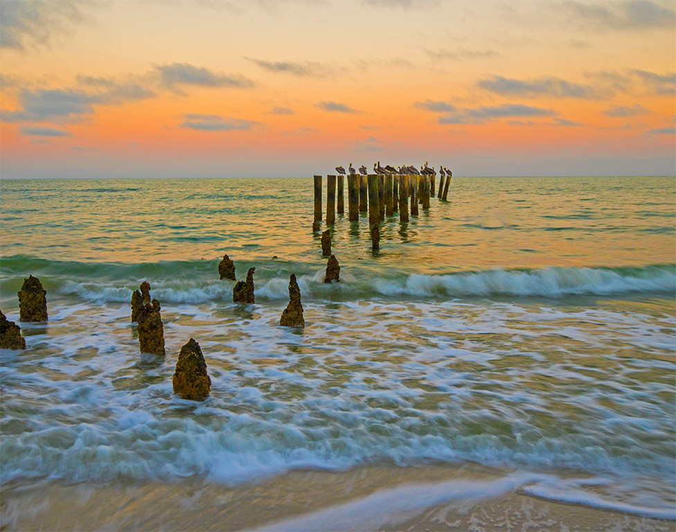 Sunrise at the Pilings<br /> First Place (Tie)<br /> Nancy Springer