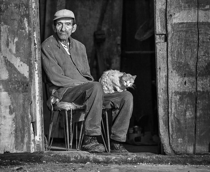 First Place (Tie)<br /> A Man and His Cat<br /> Greg Presley