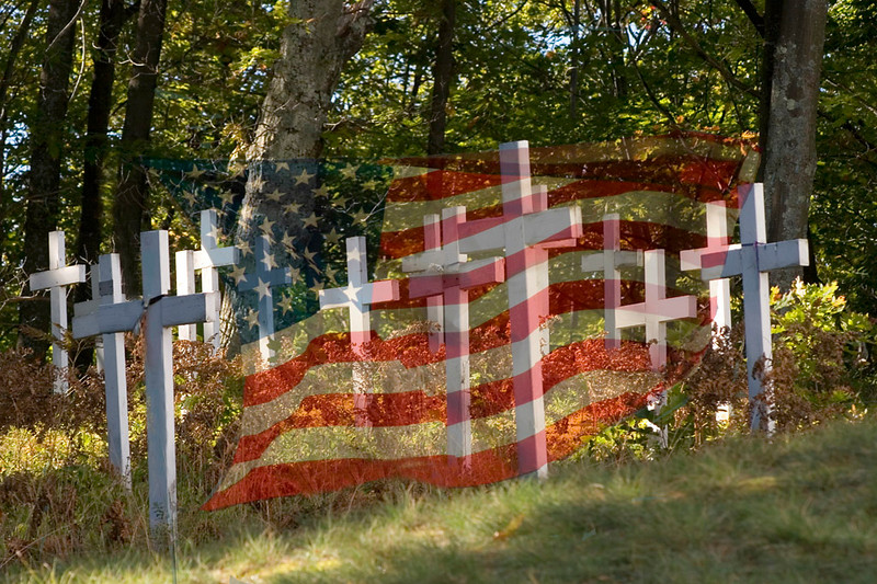 March<br /> Honorable Mention<br /> Color Projected Image Division - Creative<br /> Crosses with Flag<br /> Dana Vannoy