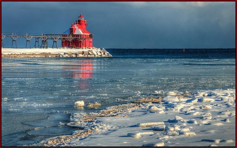 Winter at Sturgeon Bay Light - Marie Rakoczy