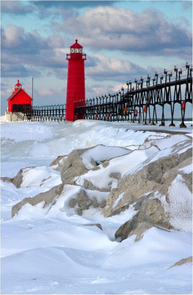 Grand Haven Lighthouse in Winter - Tom Mulick<br /> Print - March 2011