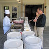 setting up the omelette station for brunch