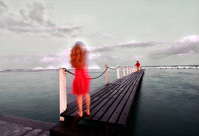 Girl in a red dress (HDR)