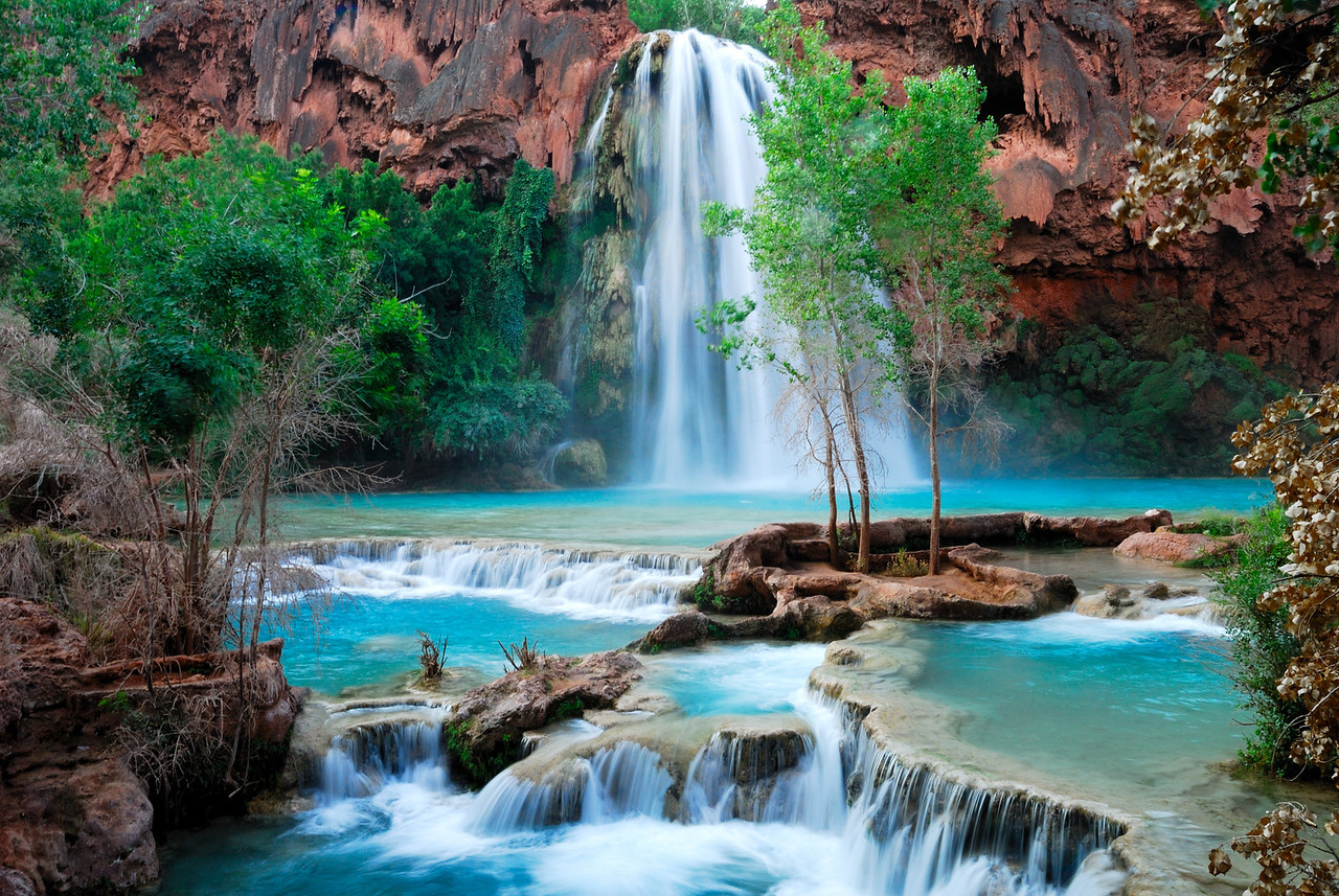 This photo of Havasu Falls in the Havasupai Indian reservation was taken during August 2008 approximately two weeks before a devastating flood wiped out this beautiful spot.