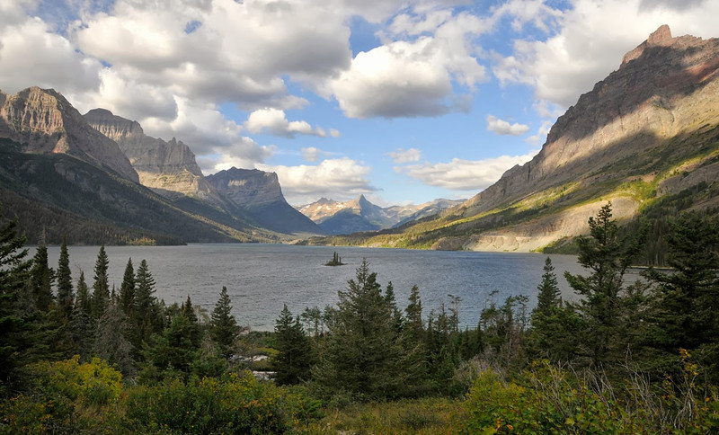 Parks-Class A-Len Barnard-Wild Goose in St. Mary Lake, Glacier NP