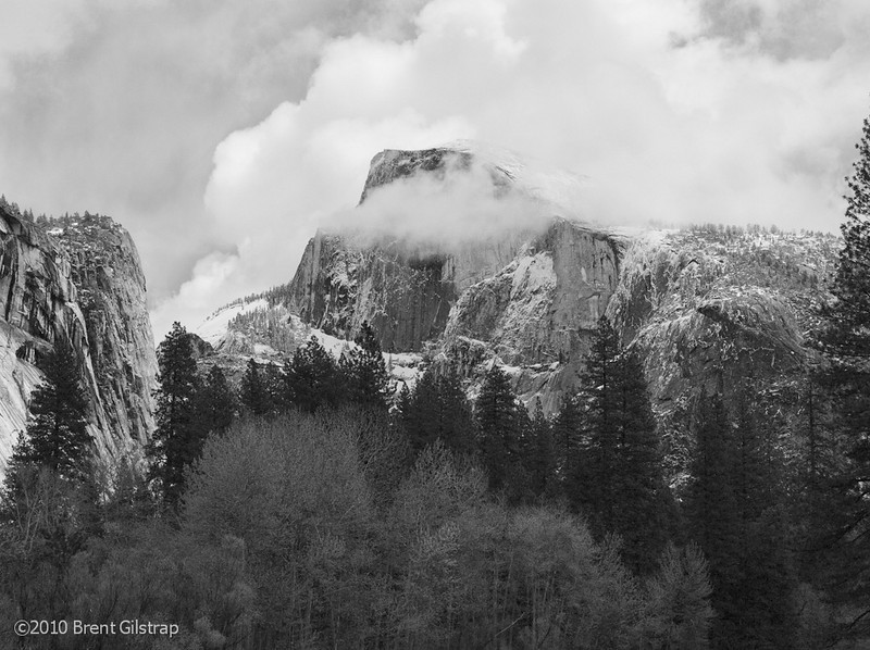 """""""Half Dome in Clouds""""<br /> Yosemite National Park<br /> <br /> Section: Professional Enlargements<br /> Class: Yosemite<br /> Place: -none-"""