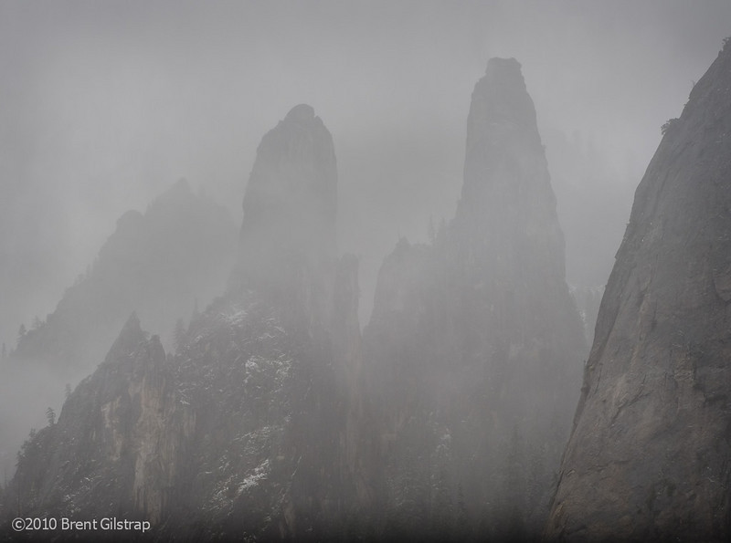 """""""Cathedral Spires and Fog""""<br /> Yosemite National Park<br /> <br /> Section: Professional Enlargements<br /> Class: Natural Landscapes<br /> Place: -none-"""