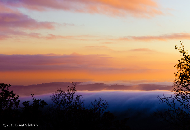 """""""Foggy Sunset""""<br /> Mariposa, CA<br /> <br /> Section: Professional Enlargements<br /> Class: Sunrise/Sunsets/Clouds<br /> Place: -none-"""