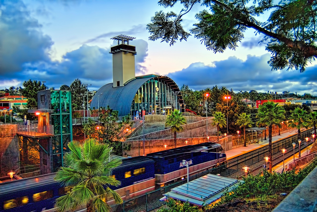 Solana Beach Train Station just after sunset.