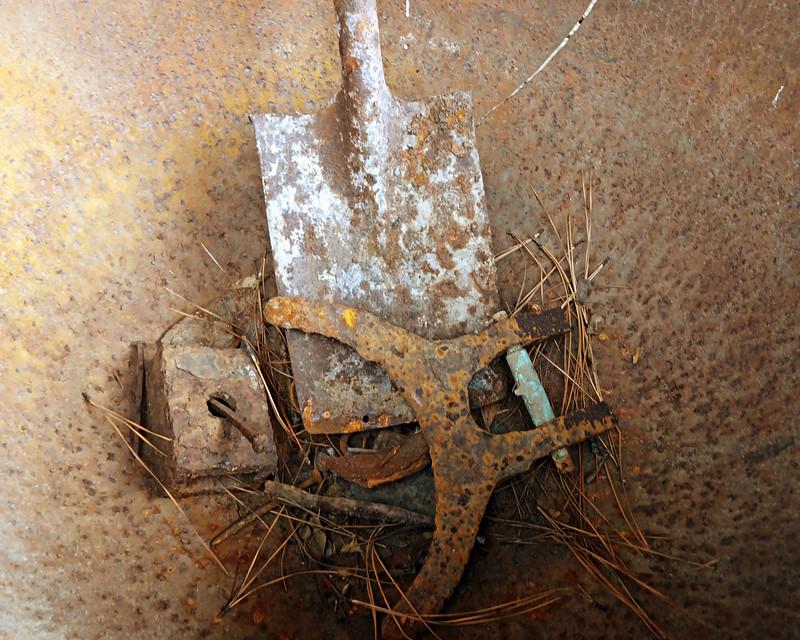Rust-B-Chuck Kersey-Rusty Tools in a Rusty Pot