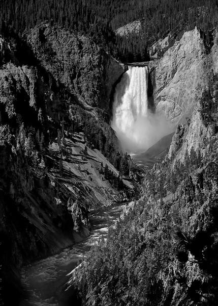 B&W-A-Jim Davis-Lower Yellowstone Falls