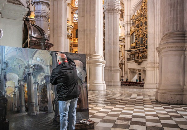 Artist at work, Granada Cathedral
