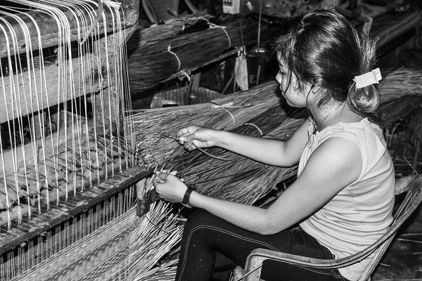 Weaving mats in Cambodia
