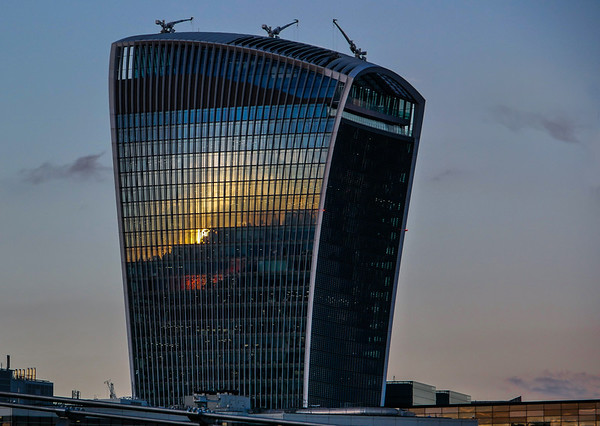 Sunset reflected onto the Walkie-Talkie building