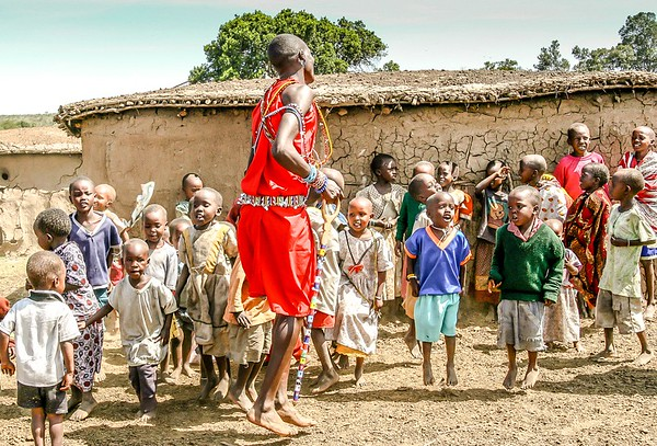 Teaching the kids to jump Masai style