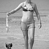 """""""Red-headed Bikini Girl with Shark and Puppy""""<br /> By Eric Sorensen<br /> 2nd PLace- Large Monochrome 2007 Annual Competition"""