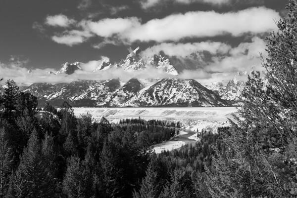 Monochrome/Black & White, Second Place - Jim Lawrence - Grand Teton in Clouds