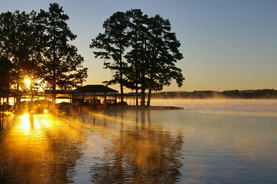 LANDSCAPE/CITYSCAPES/TRAVEL: SECOND HONORABLE MENTION: SUNRISE ON LAKE HAMILTON: by Tony Austin: 16.9: