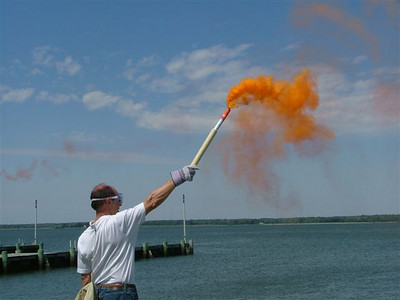 Flare demonstration for National Safe Boating Week.