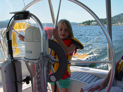 Little Skipper Zoe Elise. 6 years old, learning the rules of safe boating.