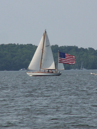 """Flying colors on the Fourth of July"". Burlington Harbor, Lake Champlain, Vermont"