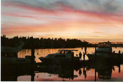 Our boat on a beautiful Northwest sunset on the Snohomish River, Wa
