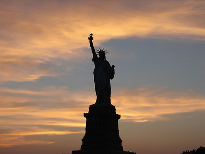 Sunset at the Statue of Liberty
