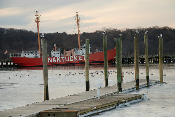 The retired Nantucket Lightship on a peaceful winter day in Oyster Bay Harbor, NY.