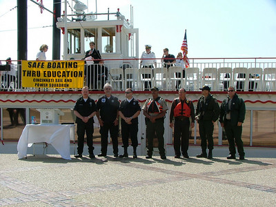 Ohio Department of Natural Resources officers during a National Safe Boating Week Proclamation and blessing of the fleet.