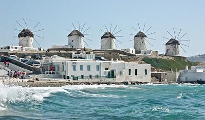 Windmills on the Greek Island of Mykonos
