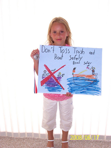 Makenzie and her boating safety poster