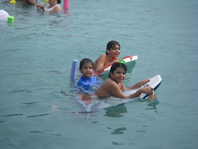 Youngsters enjoy the waters of Palomino Island, PR at the San Juan Power Squadron Change of Flag 2008