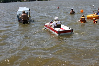 Still afloat during the cardboard boat race