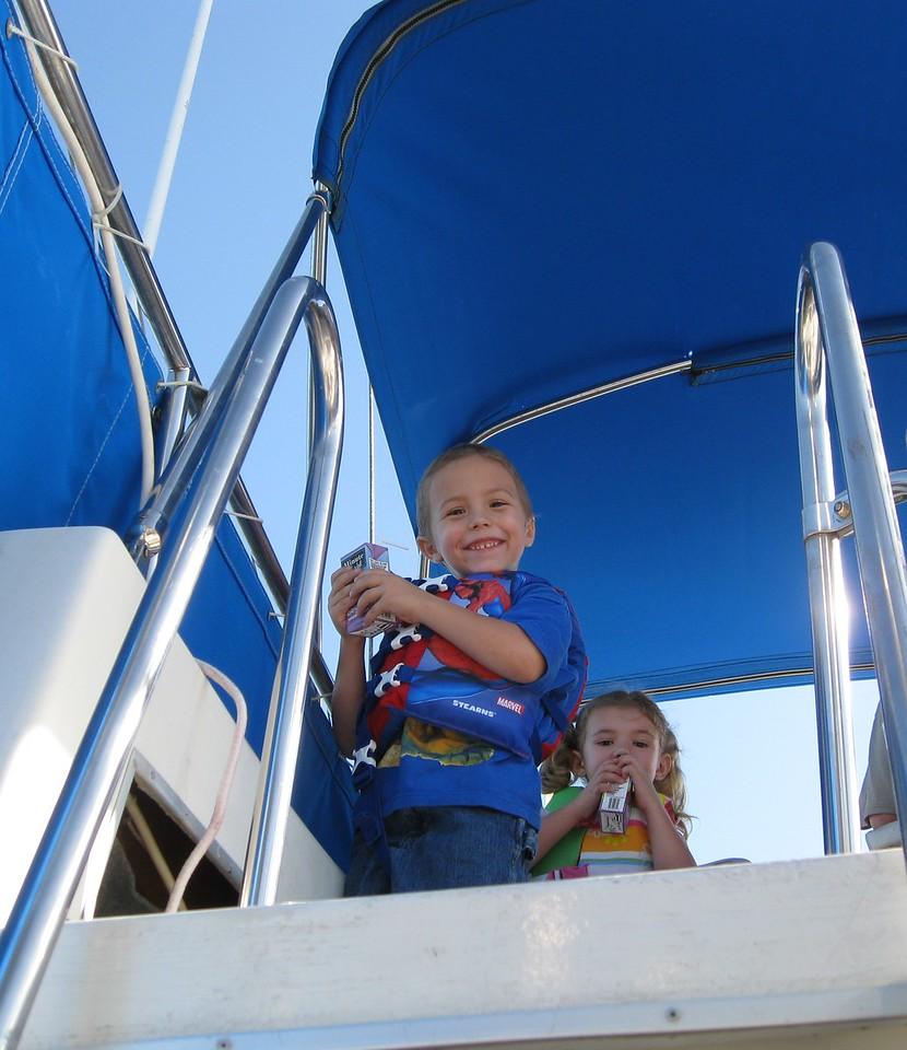 Having fun on Grandpa's boat