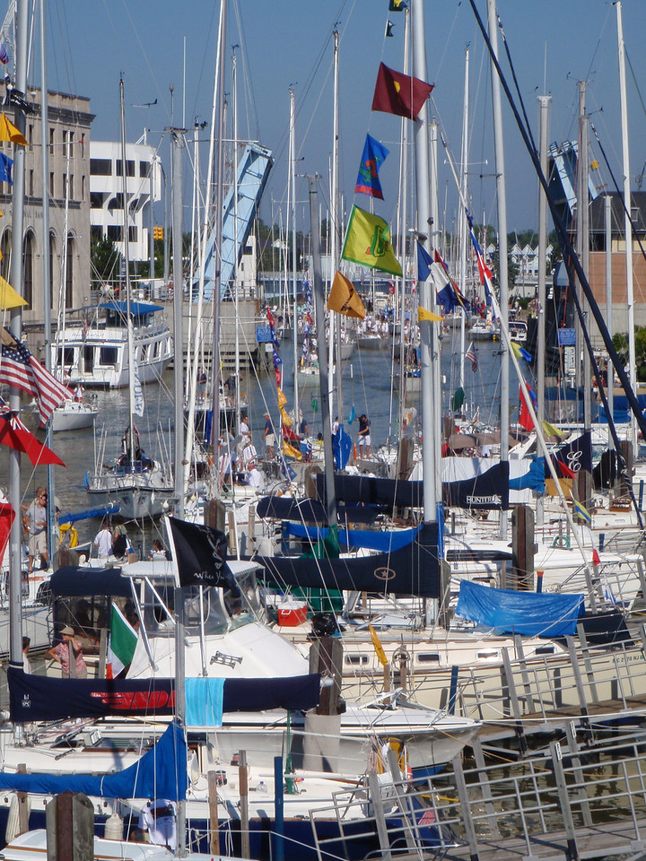 Boats beginning the trek to the start of the 2010 Port Huron to Mackinac Sailboat Race.