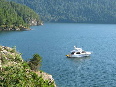 M/V Sunshine at anchor in Teakern Arm, Desolation Sound, B.C.
