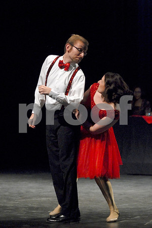"-Messenger photo by Hans Madsen<br /> <br /> Jesse and Susan Helling perform to the song ""Walking on Sunshine"" Saturday night at the Dancing with the Stars Fort Dodge fundraiser at Iowa Central Community College."
