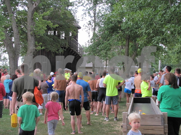 Twin Lakes Triathlon.  Athletes receive final instructions before race begins.