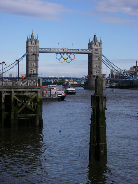 """Buildings. Tower Bridge in Olympic plumage. Highly commended """"good rendition of Tower Bridge in context""""."""