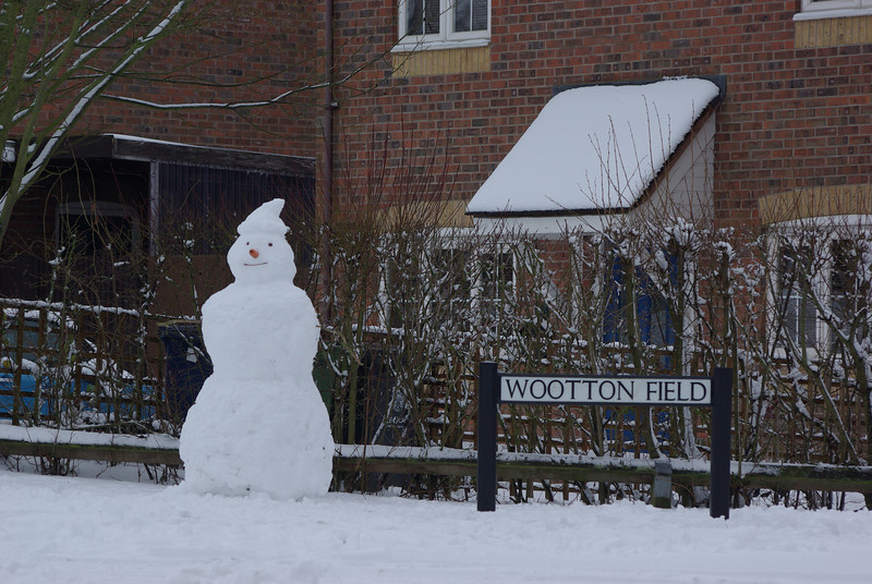 Gamlingay in the Snow. A giant snowman sprouted at the end of our road - third in class.