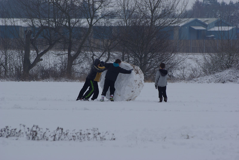 Gamlingay in the Snow. Second in class was this image of a giant snowball being created on the football pitch.